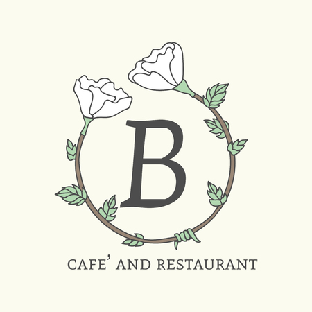 B cafe and restaurant logo vector Banque d'images - 120963760