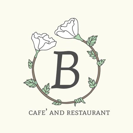 B cafe and restaurant logo vector