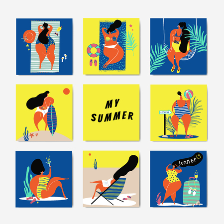 Female characters enjoying summertime collection vector