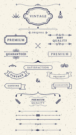 Vintage premium label collection vectors