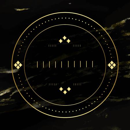Round badge on black background vector Illustration
