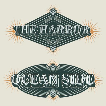 Seafood restaurant vintage logos vector set 向量圖像