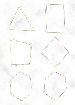 Golden polygon frame vector set Illustration