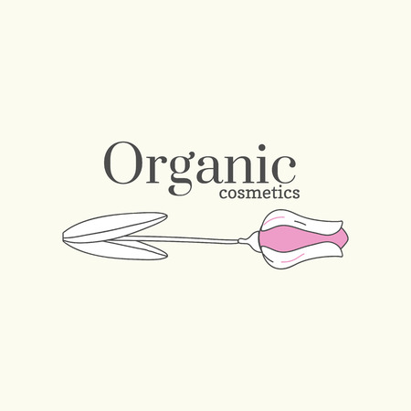 Floral organic cosmetics logo vector