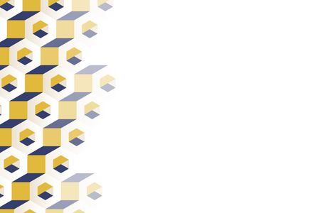 3D yellow and blue hexagonal patterned background vector Stock Illustratie