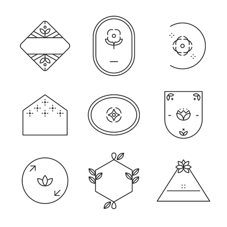 Geometric shaped badge collection vector Illustration