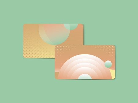 Orange geometric abstract patterned business card template vector
