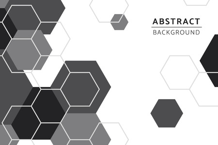 Black and white hexagon geometric pattern background vector