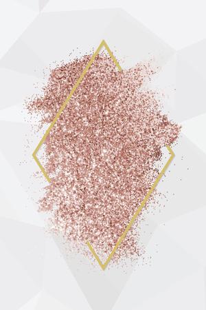 Paillettes d'or rose avec un cadre de losange rouge brunâtre sur un vecteur de fond gris Vecteurs