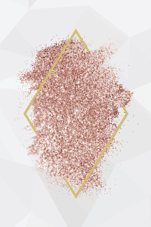 Pink gold glitter with a brownish red rhombus frame on a gray background vector
