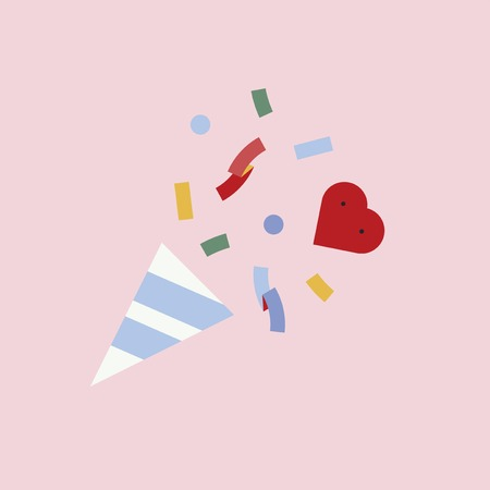 Confetti to celebrate love vector