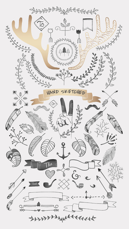 Hand drawn boho doodle element  vectors collection
