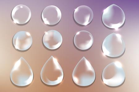 Various shapes of water drops vector