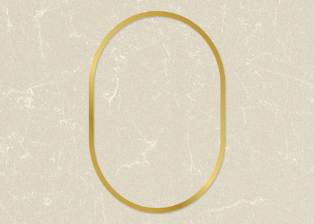 Gold oval frame on a beige paper textured background 스톡 콘텐츠