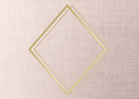 Gold rhombus frame on a peach fabric background illustration
