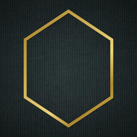 Gold hexagon frame on a dark fabric textured background Standard-Bild - 121110107