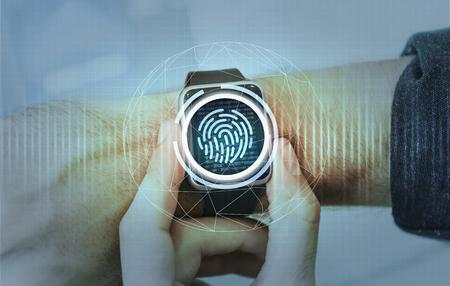 Sistema de seguridad de protección de datos de SmartWatch Foto de archivo