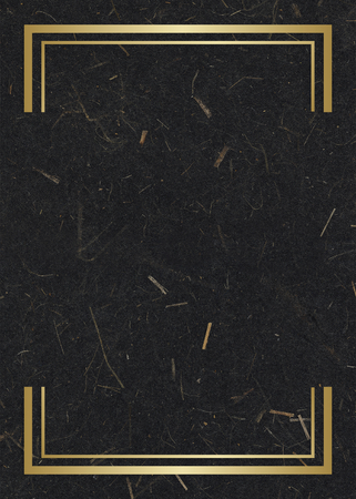 Gold rectangle frame on a black mulberry paper textured background Foto de archivo - 121110195