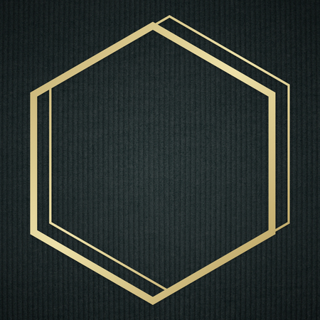 Gold hexagon frame on a background Stock Photo