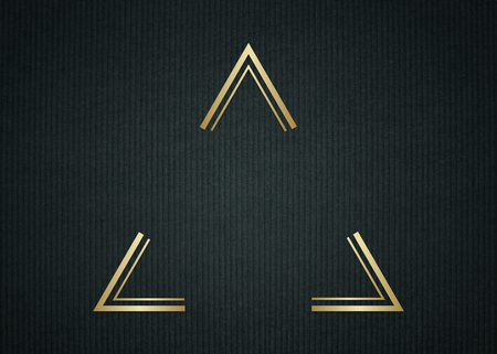 Gold triangle frame on a dark fabric textured background Standard-Bild - 121110216