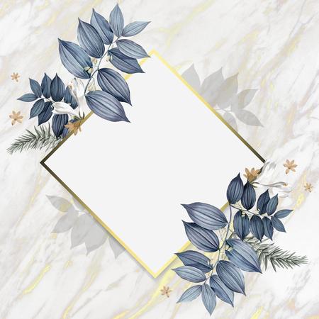Conception de cadre de mariage floral luxueux