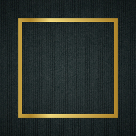 Gold square frame on a dark fabric textured background