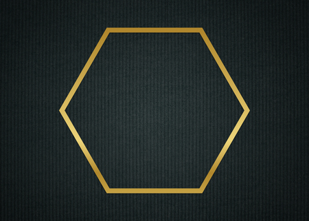 Gold hexagon frame on a dark fabric textured background