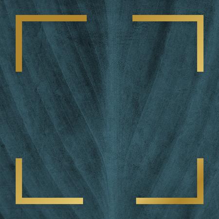 Golden framed square on a leaf texture