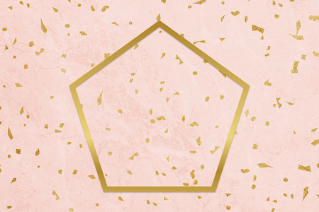 Golden framed pentagon on a pink texture