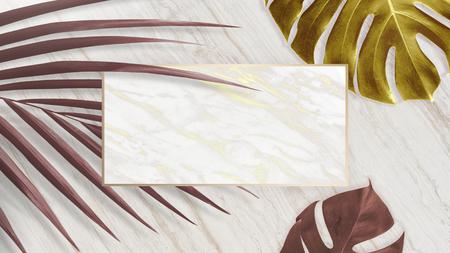 Bandiera dorata della natura su uno sfondo di marmo Archivio Fotografico
