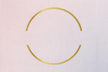 Gold round frame on a pinkish blue fabric background illustration