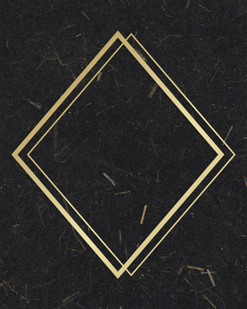 Gold rhombus frame on a black mulberry paper textured background