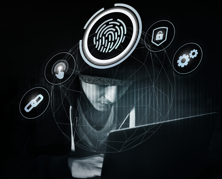 Hacker cracking a fingerprint scanning system