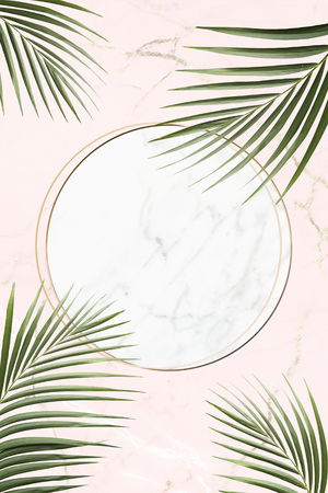 Round golden frame on a tropical background