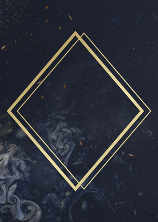 Gold rhombus frame on a universe patterned background