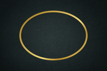 Gold oval frame on a dark fabric textured background Stock Photo
