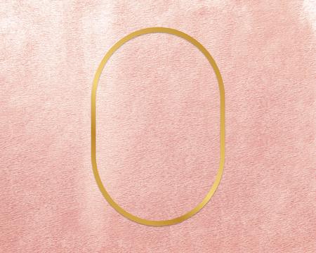 Gold oval frame on a rose gold background Standard-Bild - 121110790