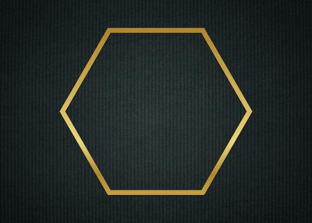 Gold hexagon frame on a dark fabric textured background illustration Standard-Bild - 121111090