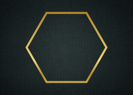Gold hexagon frame on a dark fabric textured background illustration Stock Photo