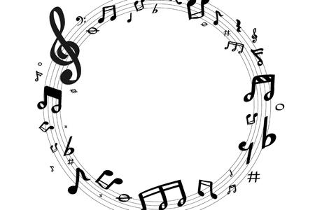 Distintivo rotondo di note musicali nere su sfondo bianco vettore