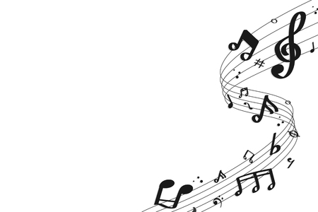 Black flowing music notes on white background vector