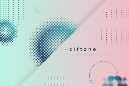 Geometric halftone blue and pink background vector 写真素材 - 123281711