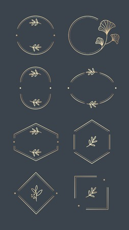Floral logo design collection on a aegean blue background vector