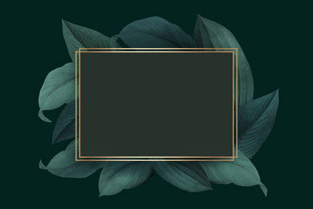 Golden frame on a green leafy background vector