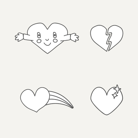 White heart design collection vectors 일러스트