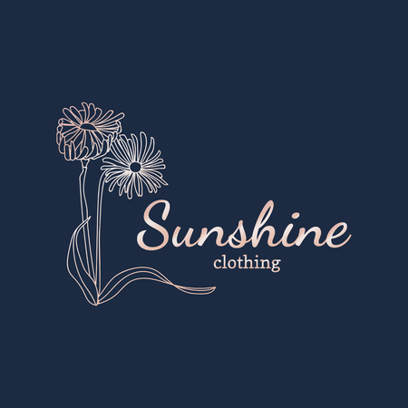 Floral sunshine clothing logo vector
