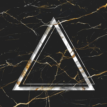 Triangle frame on black marble textured background vector Illustration