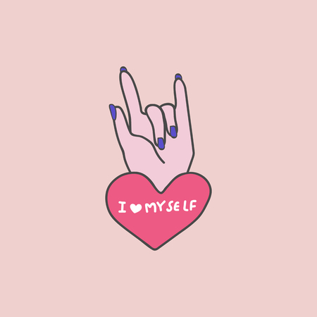 I love myself on a hand gesture vector Illustration