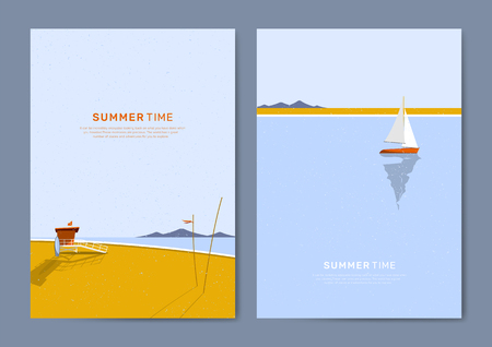Tropical summer time card vectors