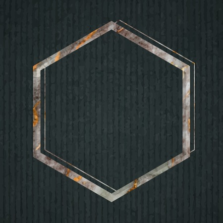Hexagon frame on dark green fabric textured background vector Stock Vector - 121111625